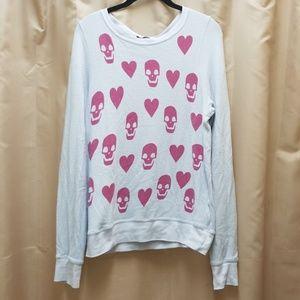 Wildfox Skull Heart Valentine Baggy Beach Jumper
